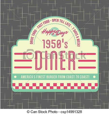 Vector Illustration Of 1950s Diner Style Logo Design   All Fonts Shown