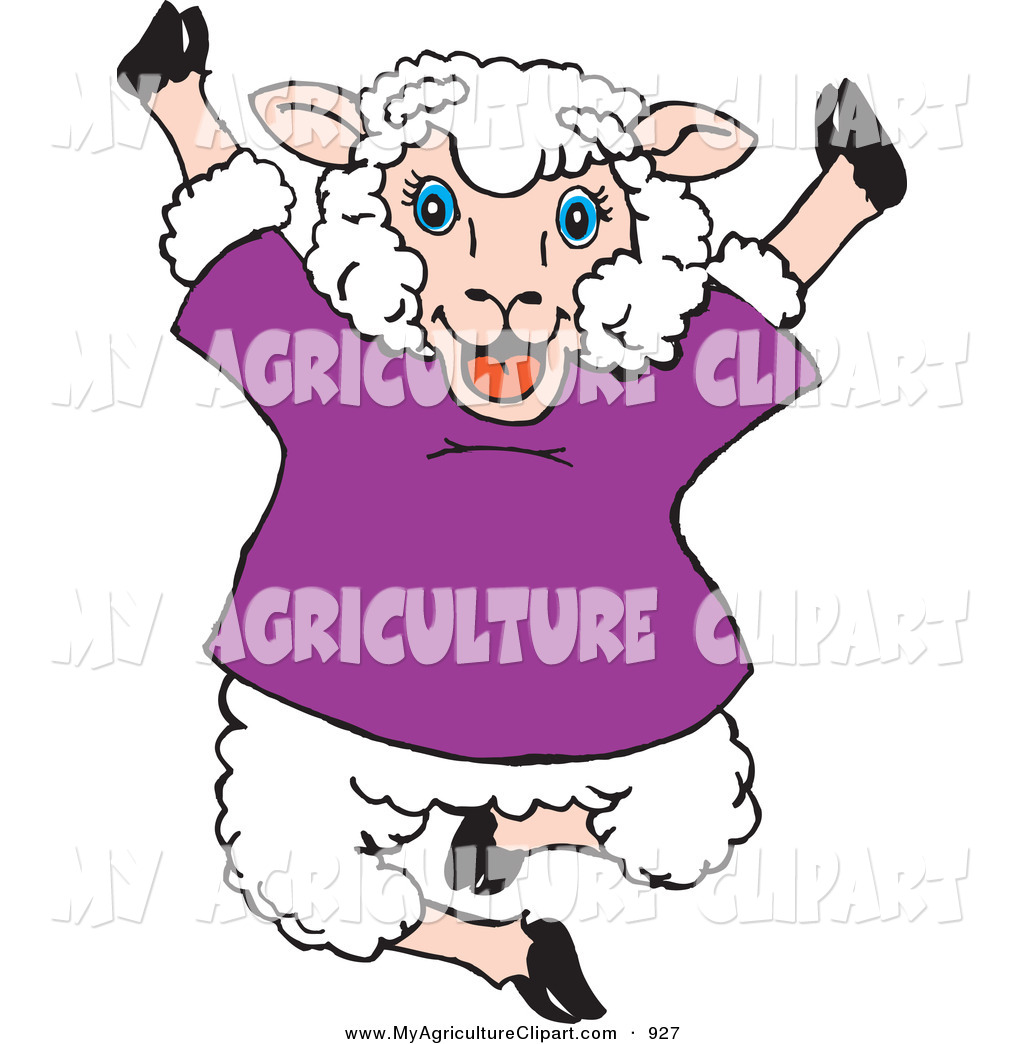 Agriculture Clipart Of A Smiling Happy Jumping Sheep In A Purple Shirt