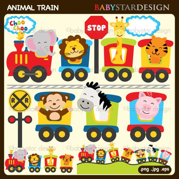 Animal Train Clip Art   Cute Illustration For Invitations