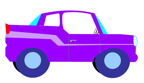 Cartoon Image Of A Purple Car   Free Clip Art