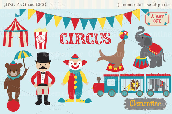 Circus Clip Art And Vectors   Illustrations On Creative Market