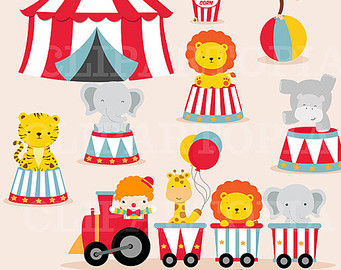Circus Digital Clipart   Animal Circus Clip Art   Circus Train Clipart