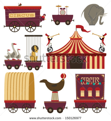 Circus Train Clip Art Vector Circus Train Elements