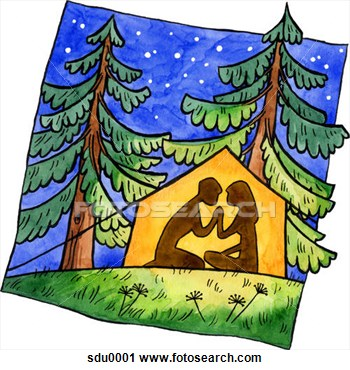 Clipart Of A Painting Of A Couple Camping In A Tent Under The Stars