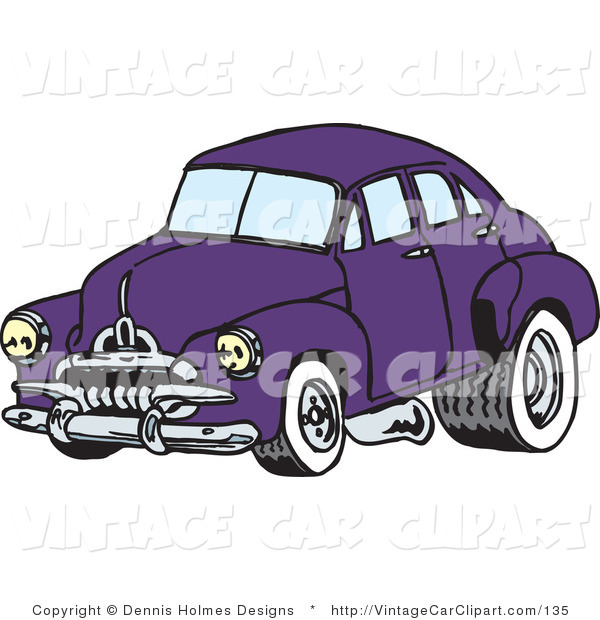Clipart Of A Retro Purple Car With Drag Racing Tires By Dennis Holmes