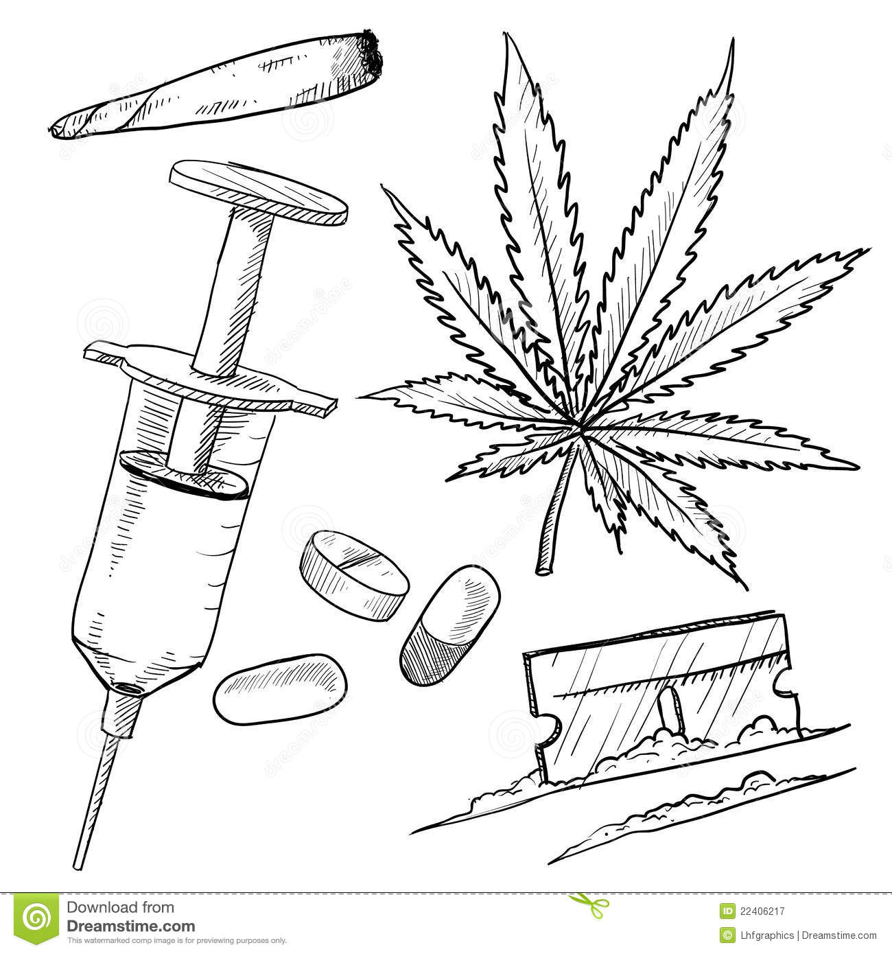 Illegal Drugs Drawing Royalty Free Stock Photography   Image  22406217