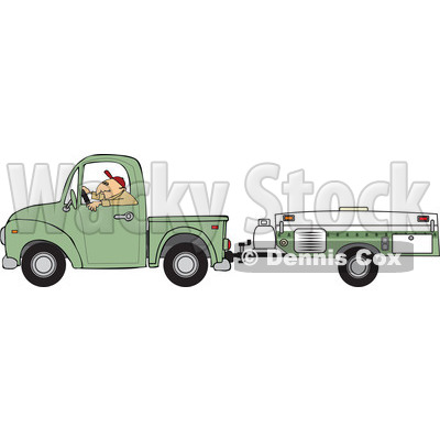 Man Driving A Pickup With A Tent Trailer   Royalty Free Vector Clipart