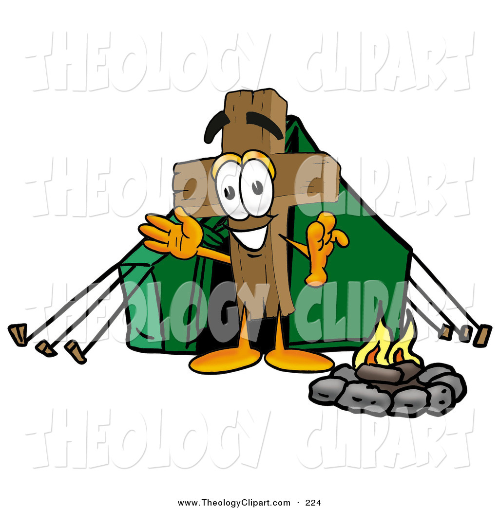 Mascot Cartoon Character Camping With A Tent And Fire By Toons4biz