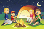 Vector Illustration Of A Family Camping Summer Family Camping