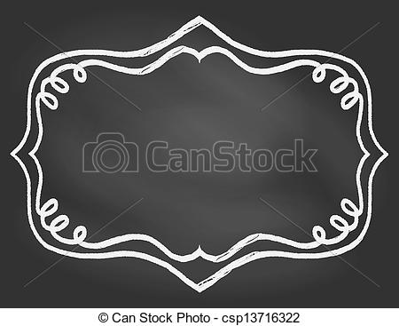Vector Illustration Of Frame On Chalk Borard   Empty Hand Drawn