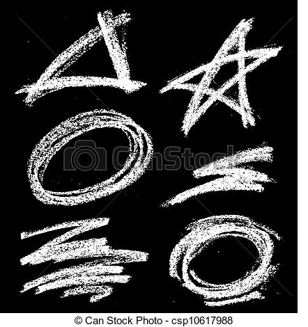 Vector Of Chalk Shapes   Various Chalk Drawn Chalkboard Shapes