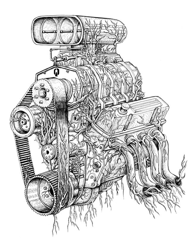 Wonderful Drawing Of A Blower Engine  Engine Art