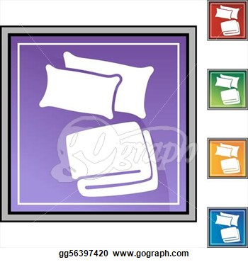 Clipart   Pillow Blanket Web Button Isolated On A Background Stock