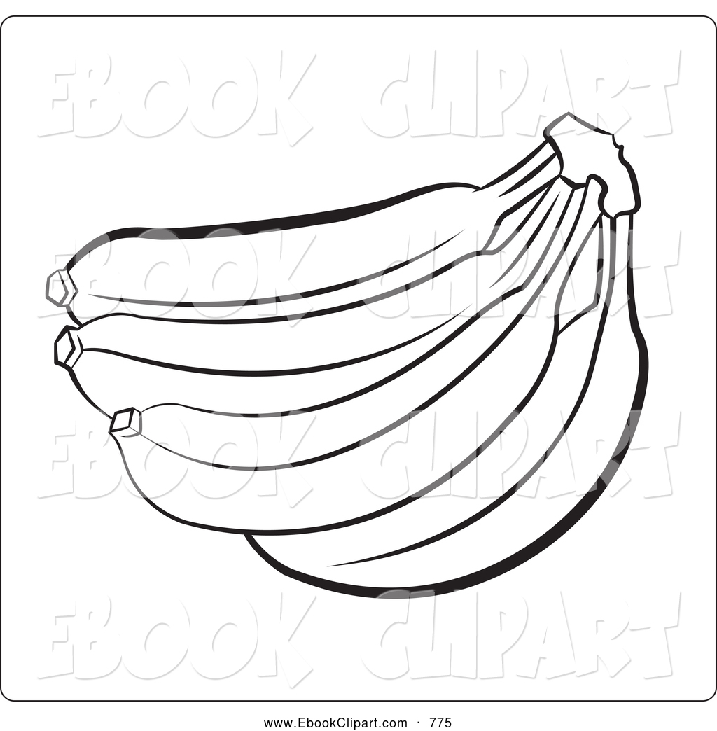 Outline Of A Banana Bunch June 20th 2013 Black And White Outline