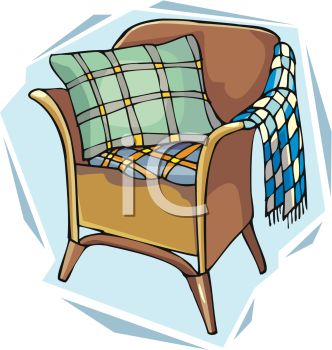 Picture Of A Brown Chair With A Pillow And Blanket In A Vector Clip
