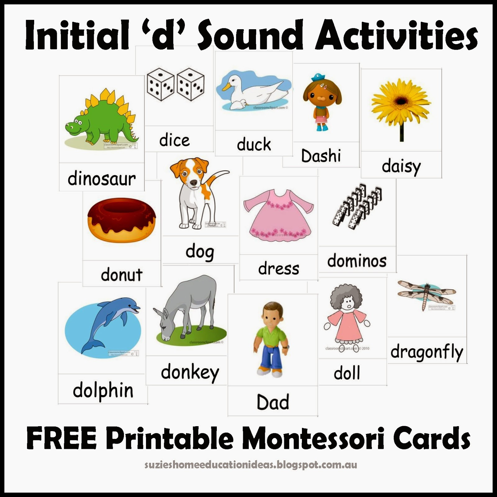 Suzie S Home Education Ideas  Initial  D  Sound Activities   Printable