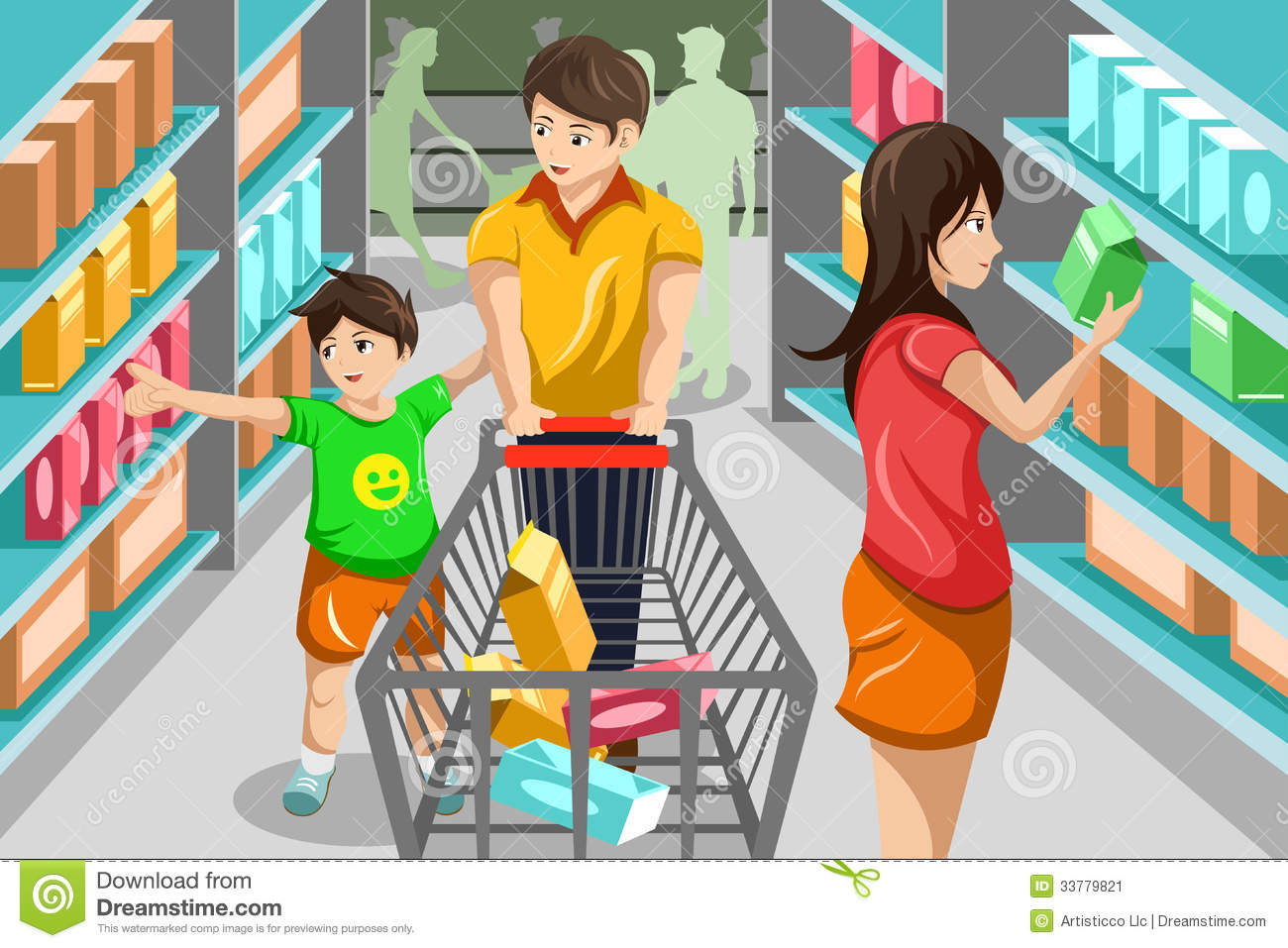 Clip Art Grocery Store Clip Art clip art boy at grocery store clipart kid vector illustration of happy family shopping in supermarket