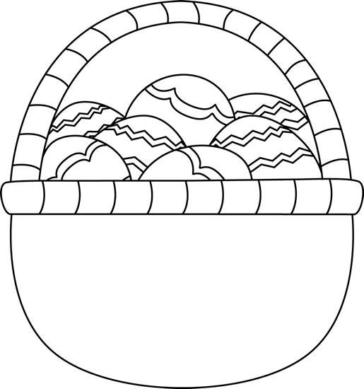 Blank Black And White Basket Of Easter Eggs Clip Art   Blank Black