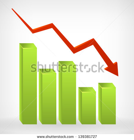 Business Down Shiny Chart Width Negative Arrow  Vector Illustration