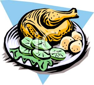 Clipart Picture  A Roast Chicken With Vegetables On A Plate