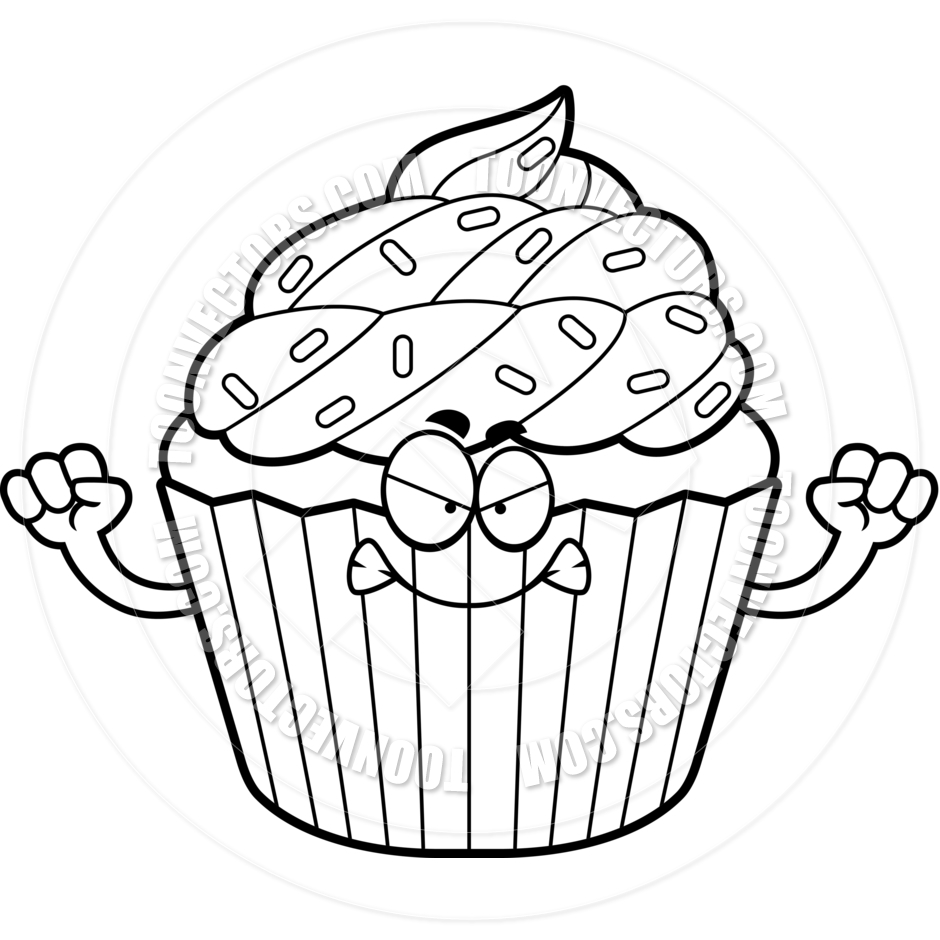 Girl Halloween Cupcake Clipart Black And White Pin Cartoon Frown Cake
