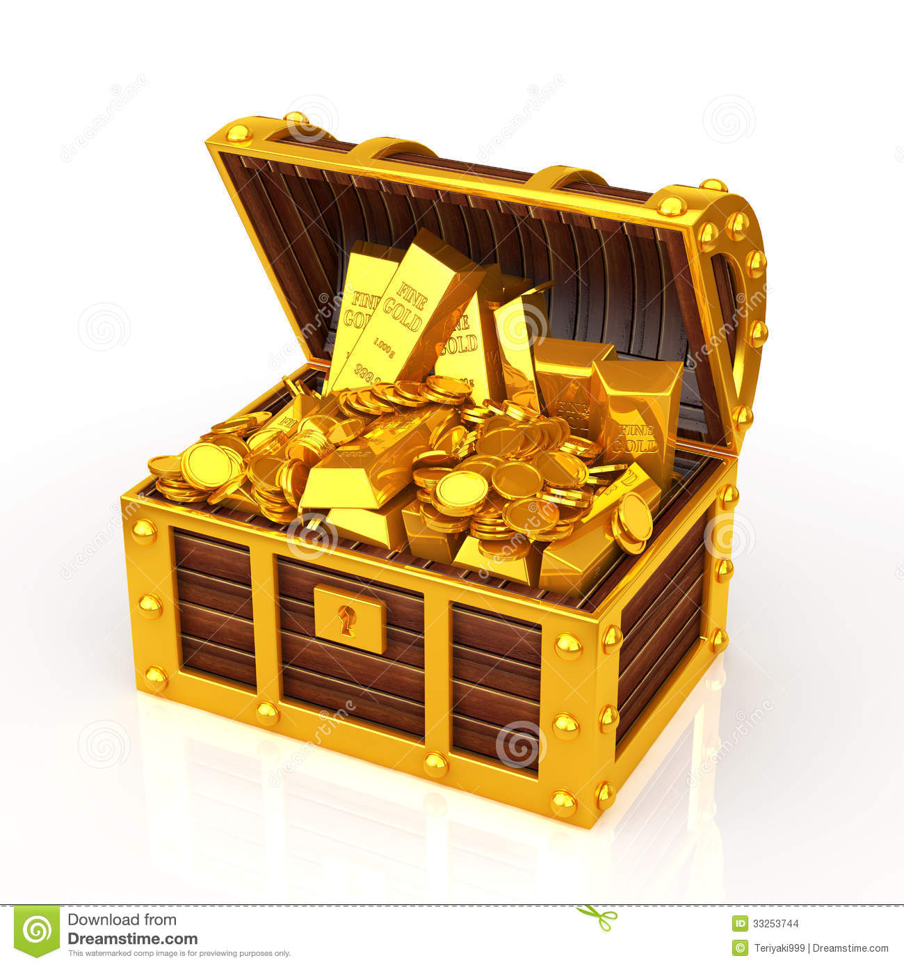 Gold Coin And Gold Nugget Is Packed With Treasure Chest
