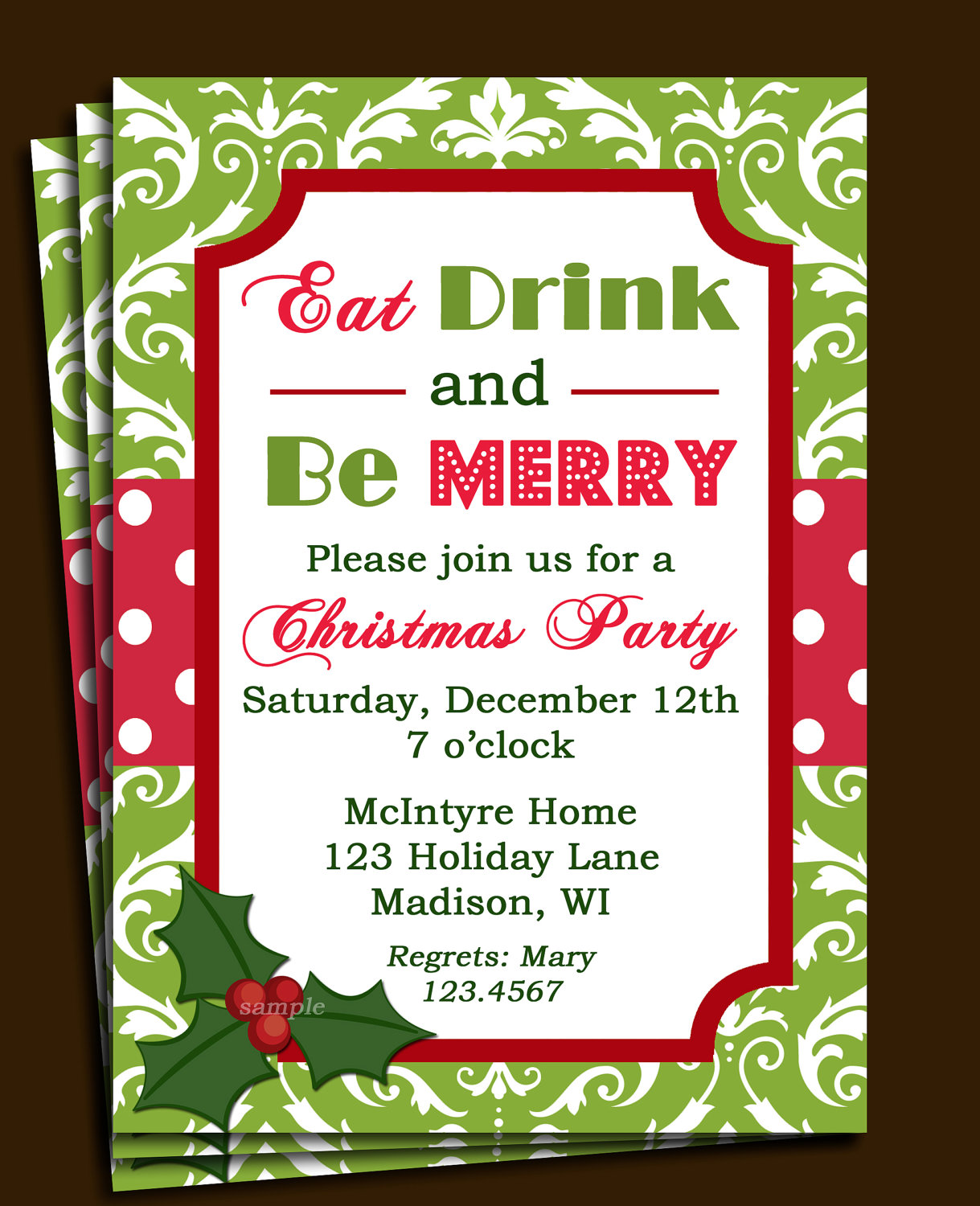 Items Similar To Christmas Party Invitation Printable   Green Damask