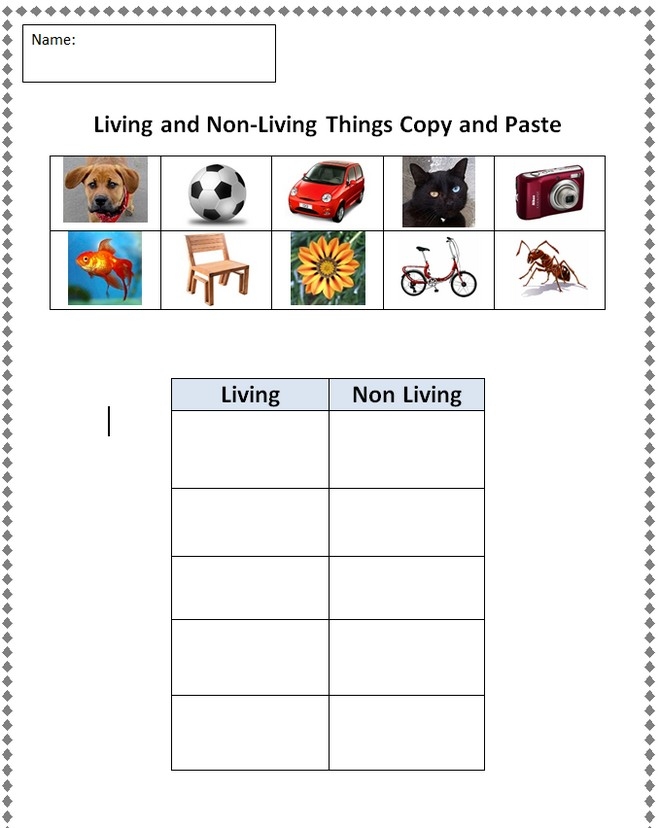 Worksheet Living And Nonliving Worksheets living and non things clipart kid copy paste finished example