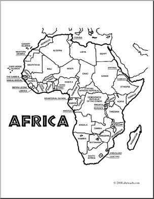 map of africa coloring page africa black and white clipart clipart suggest