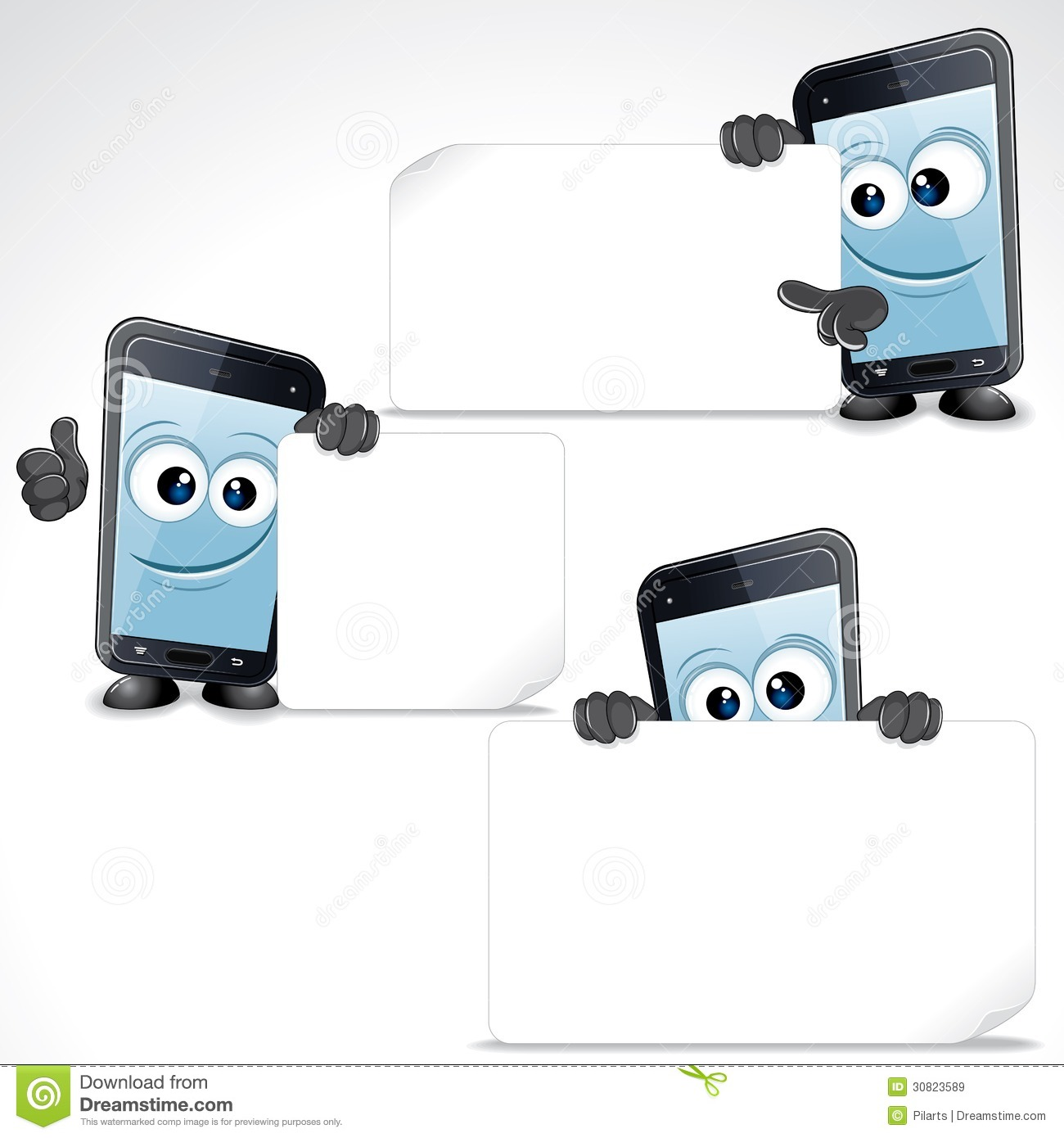 Phone Mobile Phone With Blank Sign And Thumb Up Vector Clip Art