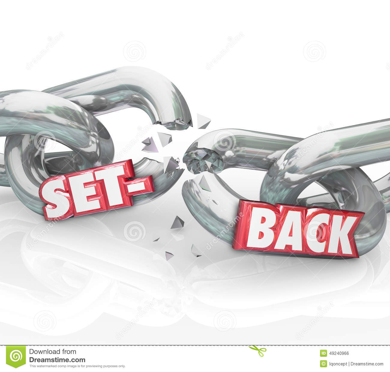 Setback Word Broken Chain Links Negative Outcome Obstacle Challe Stock