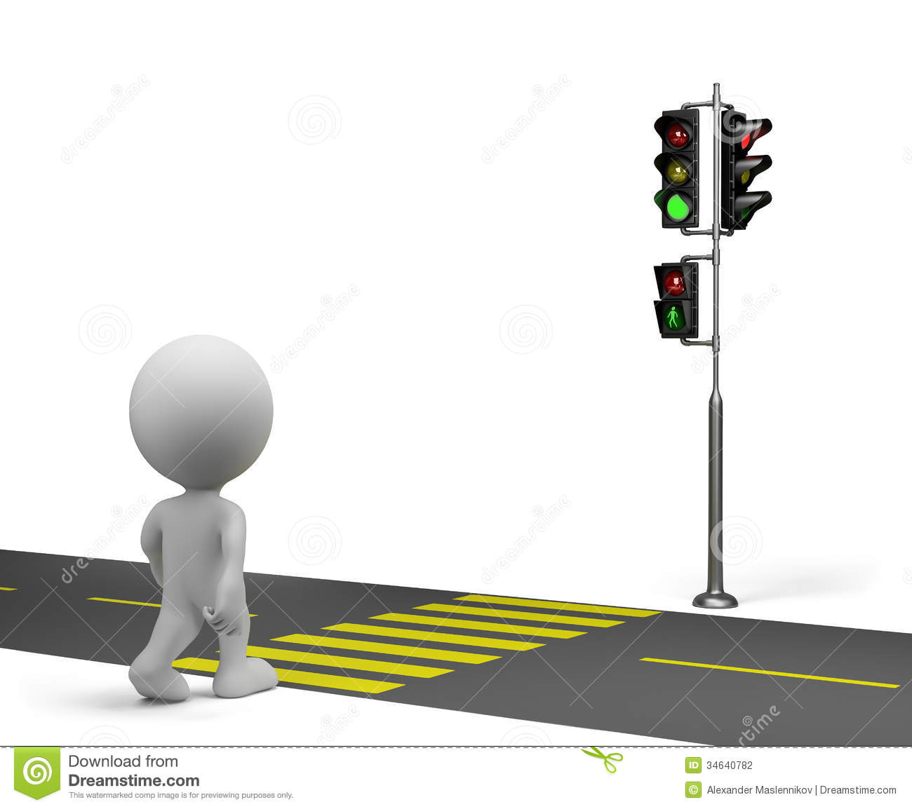 The Road On The Green Traffic Light  3d Image  White Background