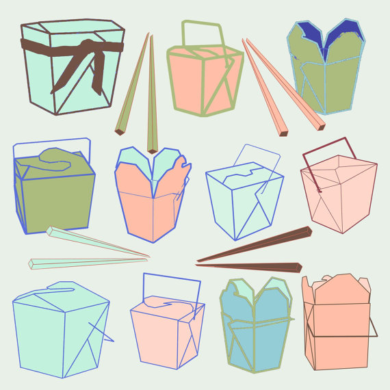 11 Chinese Take Out Boxes   4 Chop Sticks Box Digital Clip Art