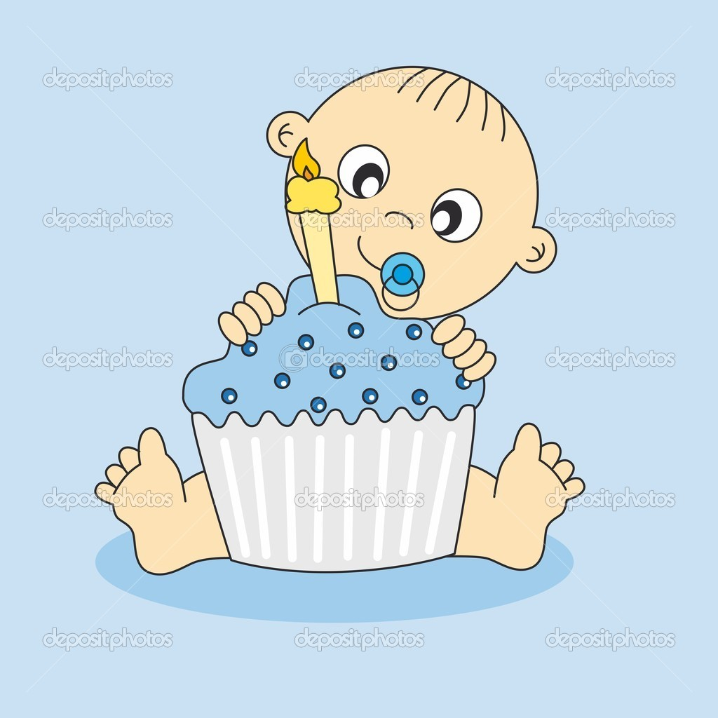 Baby Boy With A Birthday Cake   Stock Vector   Sbego  8475928