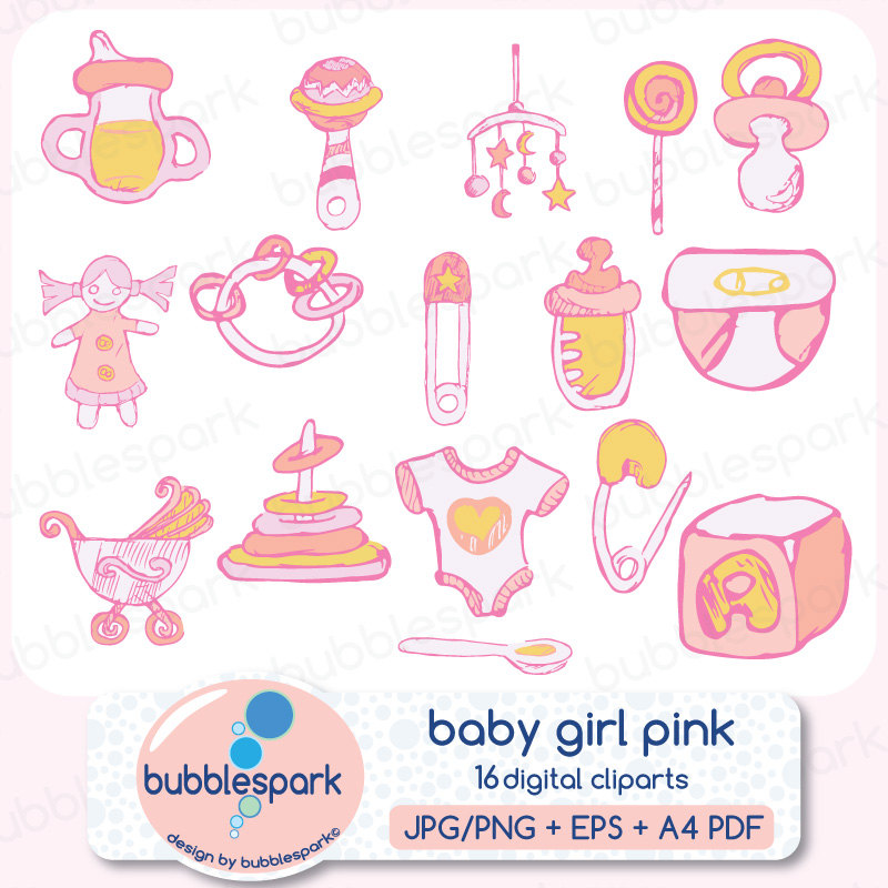 Baby Girl Toys And Clothing Digital Clip Art By Bubblesparkstore
