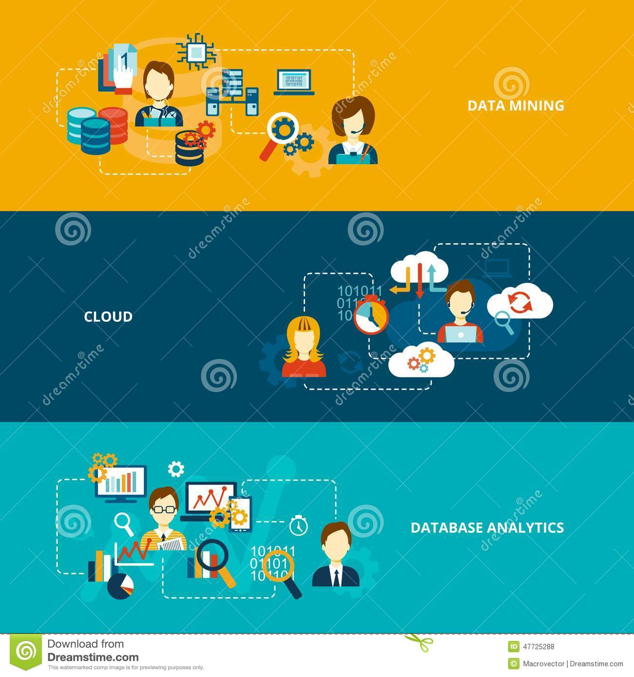 Banner Flat Set With Data Mining Cloud Isolated Vector Illustration