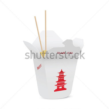 Chinese Restaurant Opened Take Out Box Filled With Noodles Chopsticks