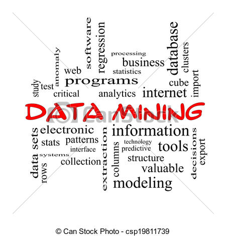 Data Mining Word Cloud Concept In Red Caps With Great Terms Such As