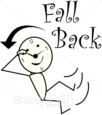 Fall Back Daylight Savings Stick Figure   Christian Calendar Clipart