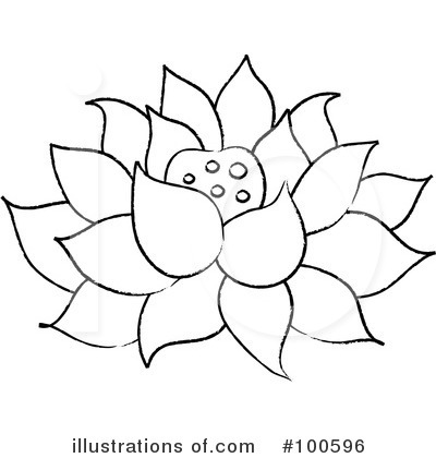 Clip Art Black And White Lotus Flower Clipart - Clipart Kid