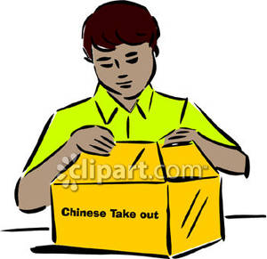 Man Opening A Box Of Chinese Take Out Royalty Free Clipart Picture
