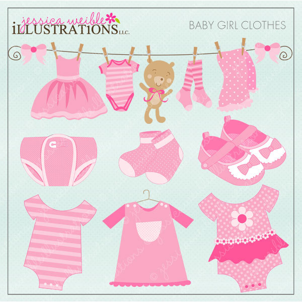 Pink Footed Pajamas Clip Art   Pink Footed Baby Pajamas With White