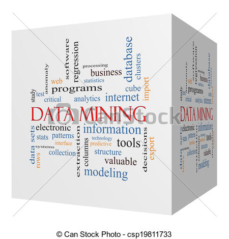 Stock Illustration   Data Mining 3d Cube Word Cloud Concept   Stock