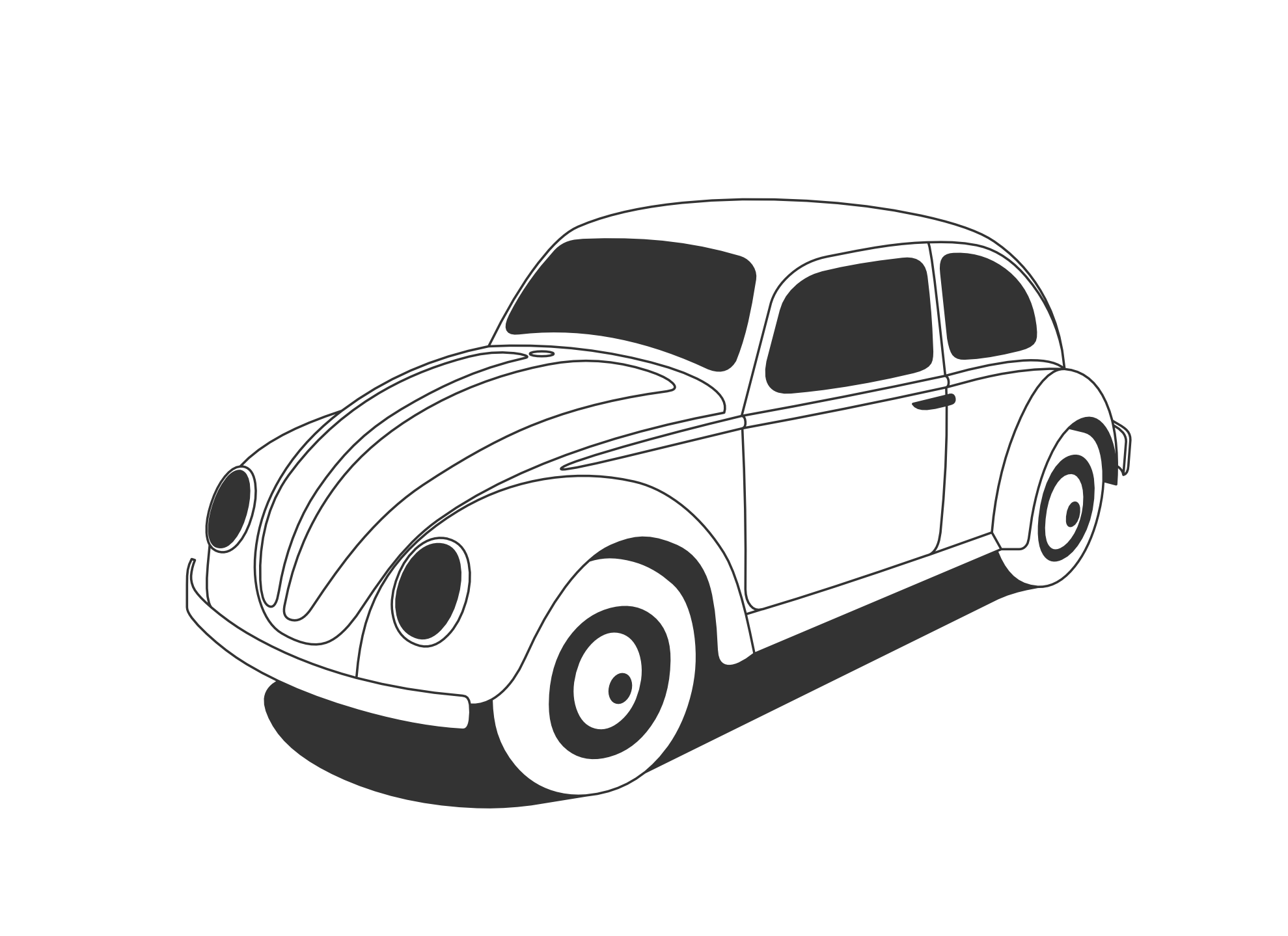 Vw Beetle Classic Black White Line Art Coloring Sheet Colouring Page