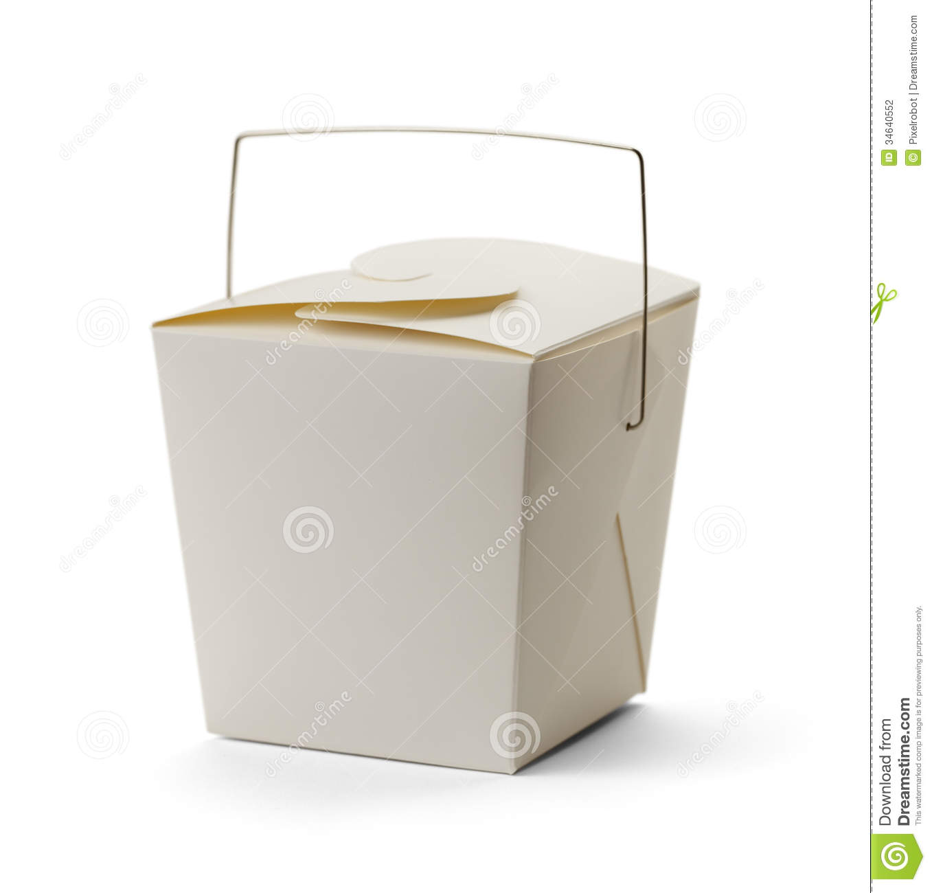 White Take Out Box With Copy Space Isolated On White Background