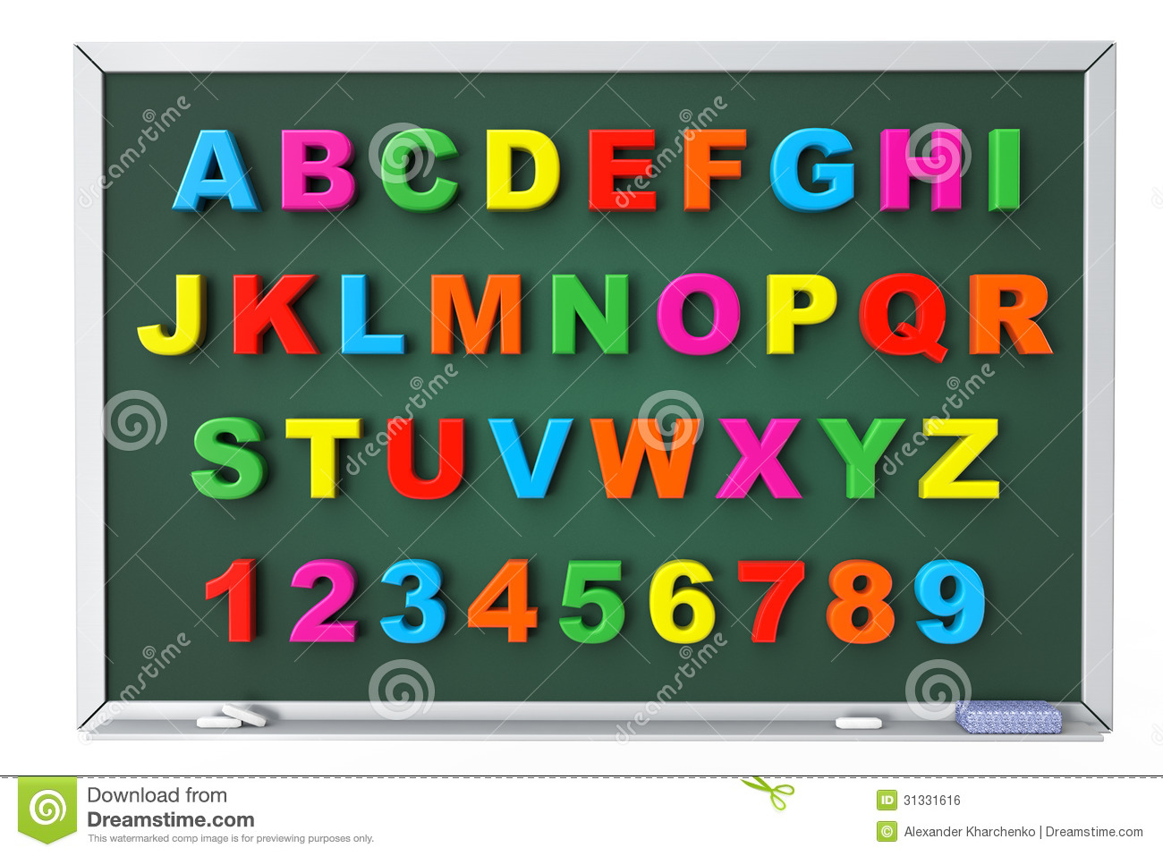 Alphabet Toy Magnetic Letters Over Blackboard Royalty Free Stock Image