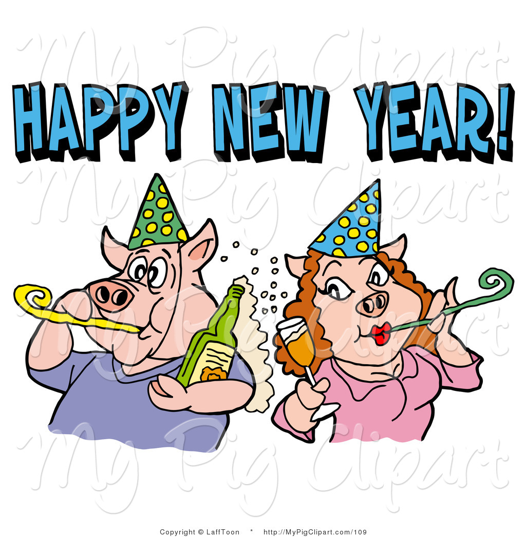 And Blowing Noise Makers Under A Happy New Year Greeting By Lafftoon