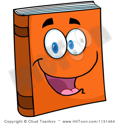 Cartoon Of A Happy Orange Book Mascot Royalty Free Vector Clipart 1