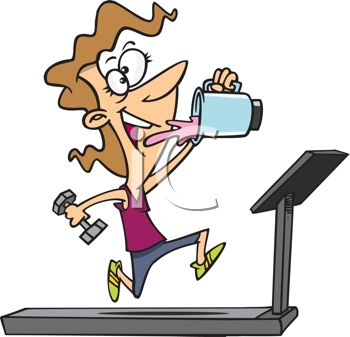 Cartoon Of A Woman Working Out On A Treadmill Drinking A Protein Shake