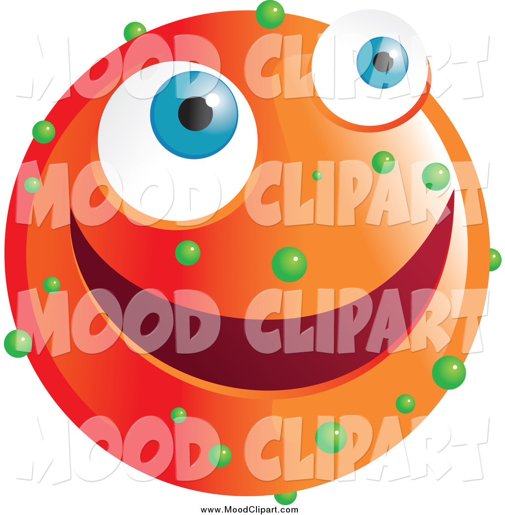 Clip Art Of A Happy Orange Emoticon Face With Green Spots By Prawny